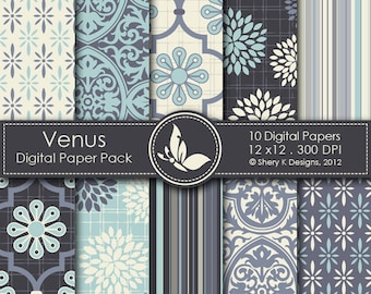 Venus Paper Pack - 10 printable Digital Scrapbooking papers - 12 x12 - 300 DPI