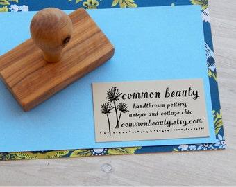 Custom Wee Blooms Olive Wood Business Stamp