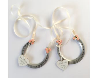 Pink wedding horseshoe, pink wedding accessory, bridal accessory, bridal bouquet, lucky horseshoe