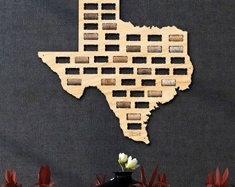 Texas Wine Cork Map - Texas State Wine Lovers Gift for Women & Men, TX Wine Cork Holder, Refined Western Texas Wall Decor, Made in USA