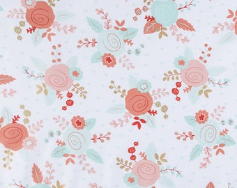 Floral Crib Sheet, Toddler Bed Sheet, Changing Pad Cover, Pack-N-Play Sheet,Matching Sheet and Changing Pad Cover, Gold, Coral, Teal