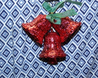 Vintage Red Plastic Bells, Christmas Decoration, Door Decor, Christmas Tree Decoration, Reindeer, Green Ribbon, Holiday Decor