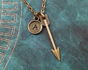 Arrow Necklace Bronze Arrow Jewelry Arrow Charm Necklace Arrow Pendant Necklace Bohemian Jewelry Archer Jewelry Archer Necklace Archery Gift