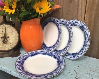 Antique Plates - Myott Son & Co - Plate Set - Flow Blue - Transferware Plates - Ironstone Plates - Semi Porcelain Plates