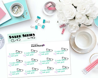"SNARK SERIES: ""I make nerd look good"" Paper Planner Stickers!"