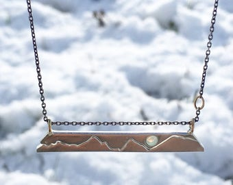 Custom Mountain Necklace, Personalized Bar Necklace, Handmade with Recycled Metals, Diamond or Gemstone available, Mountain Jewelry
