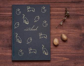 Cat gold notebook, cat journal hand printed