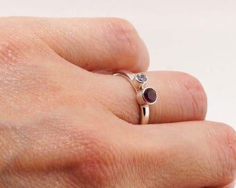 Dual Birthstone Cubic Zirconia Ring 4mm 3mm - Sterling Silver Mother Daughter Ring  - Engagement Ring Gift for Her - Mothers Day Gift