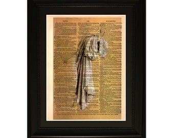 """Drappery"""".Dictionary Art Print. Vintage Upcycled Antique Book Page. Fits 8""""x10"""" frame"""