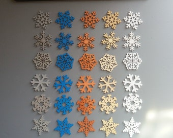 Wooden Snowflake Embellishments Toppers Hand Painted. Pack of 30. Christmas, card making, scrapbook, mixed media.