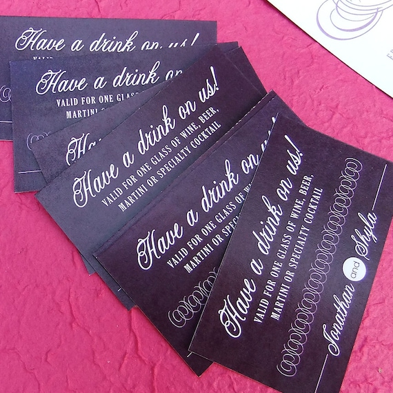 Wedding drink tickets custom party food vouchers birthday for Drink token template