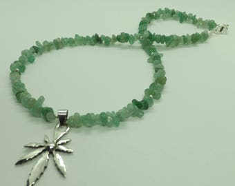 Green Aventurine Gemstone Chips Sterling Silver Leaf Charm Necklace