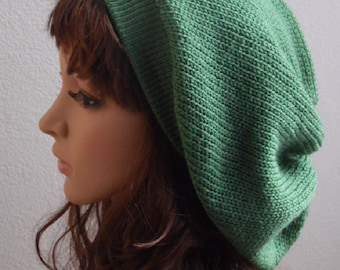 Knit Beret , Slouchy Beanie, Knitted Hat, Slouch Hat, Tam, Baggy Beanie