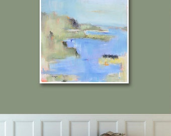 Abstract Landscape Print on Paper, Large Paper Print, Coastal Art Print, Blue Green Ocean Water Art, Wall Decor, Best Selling Items