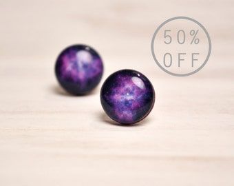 On SALE - Violet Nebula Stud Earrings - Hypoallergenic Surgical Stainless Steel Post Earrings - Galaxy Star Jewelry
