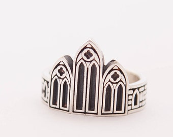 Silver Gothic ring | Gothic ring | Castle ring | Architecture