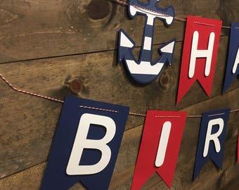 Nautical Happy Birthday Banner/ Anchor Banner/ Red, white, and Blue Banner/ Happy Birthday Banner