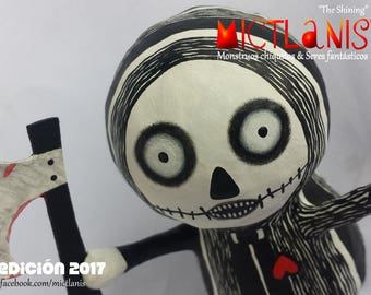 Creepy monster killer with ax, paper mache, Handmade Art Toy. Little monster murderer with axe, art doll, original character. Ooak