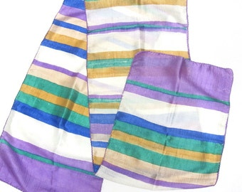 Purple Yellow White Silk Scarf Sash