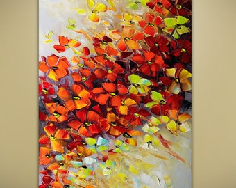 Flame of Love Flowers Flower Bouquet Abstract Original Modern Textured Palette Knife Painting by Lana Guise