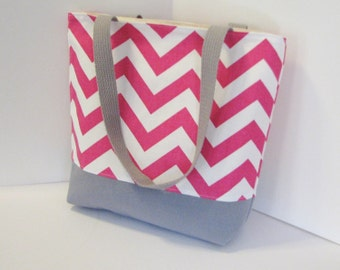 Chevron Tote Bag . Pink White Chevron with Gray . Standard size Chevron Beach bag . teachers gift bridesmaid gift . MONOGRAMMING Available