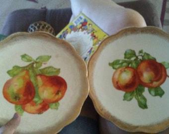 Sale-2 Vintage Smith Phillips Fruit Plates- Apple & Pear
