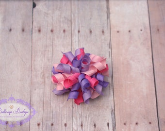 Korker hair bow, pink and purple bitty korker, korker, baby hair bow, girl hair bow