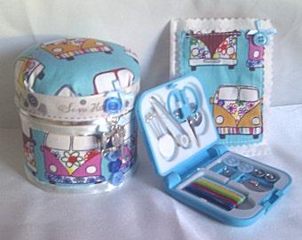 Novelty Blue Campervan Sewing Gift Set, Pin Cushion Tin + Needlecase + Sewing Kit, Sewing Gift Set, Christmas Gift, Seamstress Gift Set