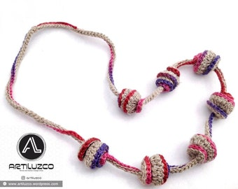 Bordoneo Bipolar, Crochet necklace, Necklace in natural fibers, Handmade knitted necklace