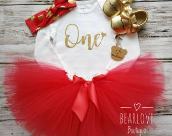 Valentine First Birthday Outfit | Valentine 1st Birthday Outfit | Cake Smash Outfit | Photo Prop | Red Birthday Outfit | Valentine Tutu