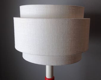 3 Tiered hardback lamp shade in white burlap fabric. Best for floor lamps. Free shipping to lower 48 states.
