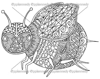 Bumble Bee Zentangle Coloring Page