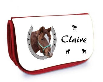 Cosmetic case red /crayons horse personalized with name