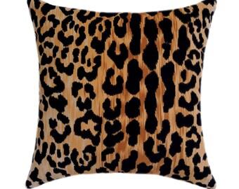 Braemore Jamil Velvet Cheetah Animal Print Pillow Cover, Velvet Black Gold Pillow Cover, Leopard Print Zipper Throw Pillow 11 Sizes