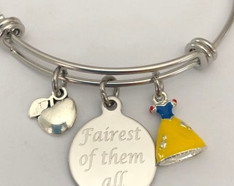 Snow White bracelet fairest of them all engraved bracelet