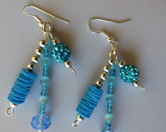 earrings turquoise blue ear - Made in FRANCE