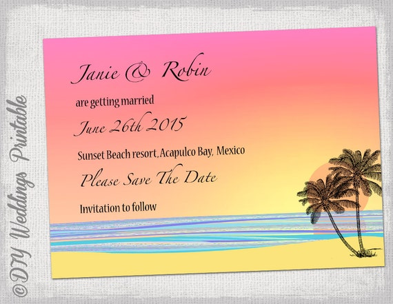 Beach Save The Date Template DIY Tropical Beach - Beach save the date templates free