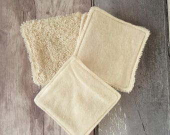 BULK BUY - Cleansing Pads - 8 cm x 8 cm - Make-up Remover Pads - Organic Cotton Terry Towelling - Organic Flannel - Washable
