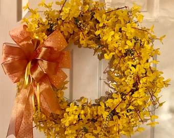 Spring Yellow Forsythia Wreath