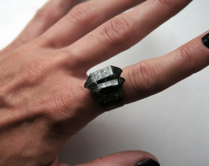 Tibetan Smoky Quartz Crystal Twin Cluster Ring // Terminated Crystal Adjustable Ring // Crystal Cluster Ring with Pyrite