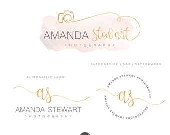 Photography branding package Photography logo, Camera logo, Branding kit, Premade logo, Watermark, Watercolor logo, Initials Logo Design 88