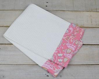 Kitchen Towel, Hand Towel, Tea Towel, Waffle Weave Towel, Dish Towel, Kitchen Hand Towel-Pink Floral