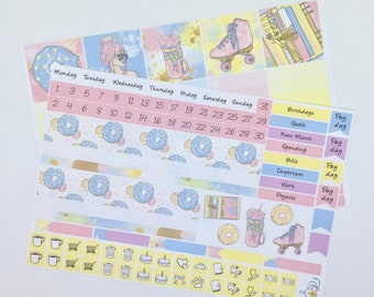 Sweet Summer July Happy Planner monthly sticker kit, HP Planner stickers, Fashion girl, Mambi monthly kit, August Happy Planner Kit