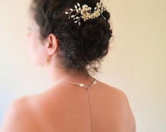 Bridal back jewelry, chain, Swarovski pearls and AB crystal