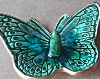 Ceramic Butterfly Ring Holder Dish Peacock Green edged in Gold