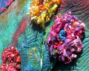 Quilted Wall Art - Blooming Shredded Flowers