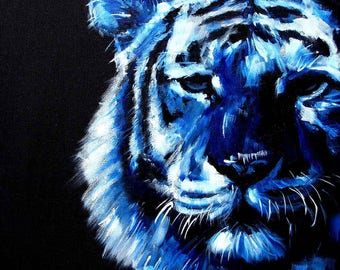 Cobalt Blue Asian Tiger Painting PRINT for Animal lovers