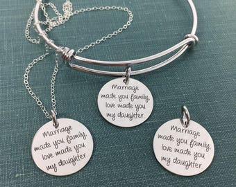 Marriage Made You Family, Love Made You My Daughter, Engraved Necklace, Wedding Gift, Step Daughter, Adoption, Engraved Gift, For Daughter