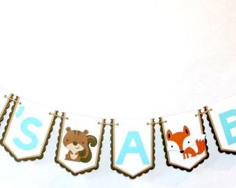 Woodland Banner / It's A Boy Woodland Banner / Woodland Baby Shower Banner