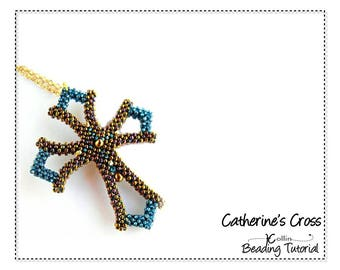 Cubic Right Angle Weave Cross beading pattern  CRAW Seed Bead Cross Tutorial Beaded Cross Jewelry Beadweaving Instructions  CATHERINES CROSS